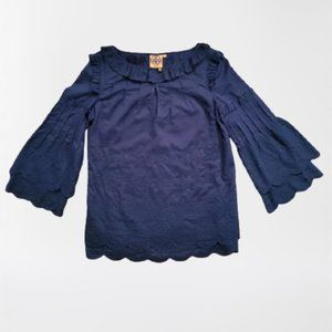 Tory Burch Navy Blue Scalloped Blouse Size 2